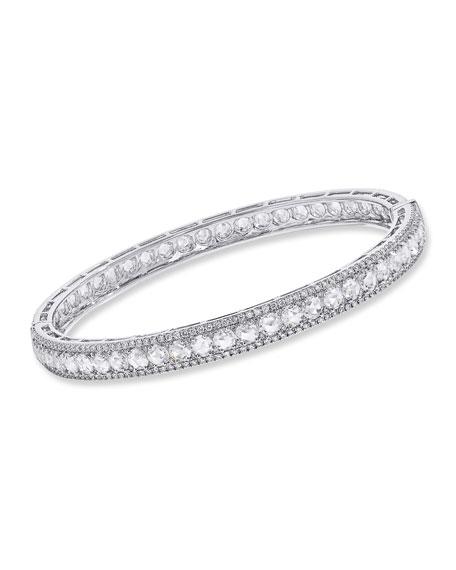 64 Facets 18K White Gold Linear Hinged Diamond Bracelet