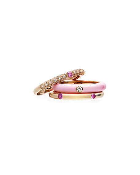 Adolfo Courrier Never Ending 18k Pink Gold Pink Sapphire Ring, Size 6-8