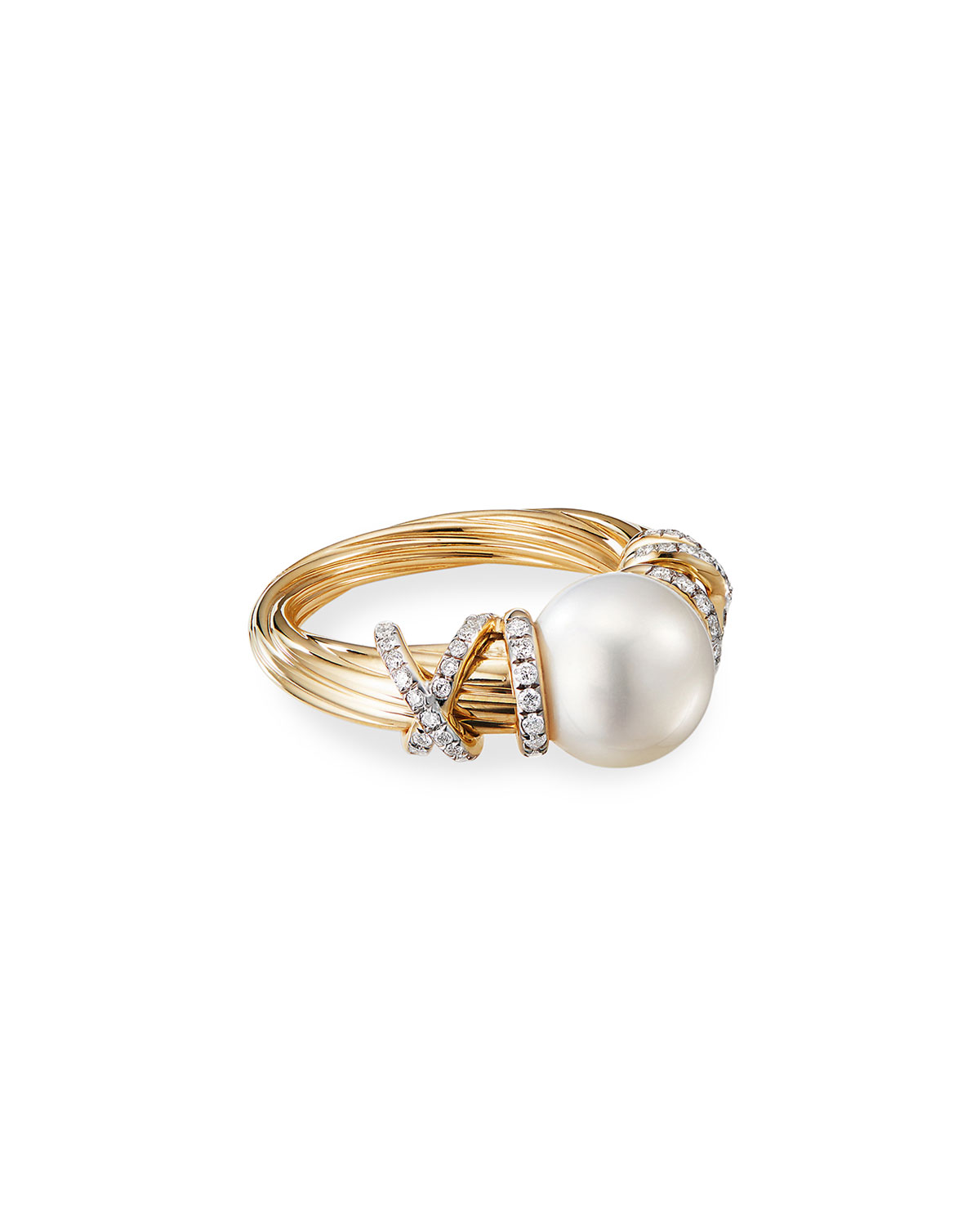 David Yurman Helena 18k Pearl & Diamond Ring, Size 7