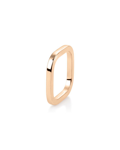 GINETTE NY 18k Rose Gold Square TV Ring, Size 5