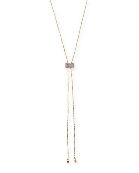 Stevie Wren 14k Gold Geometric Lariat Necklace w/ Diamonds