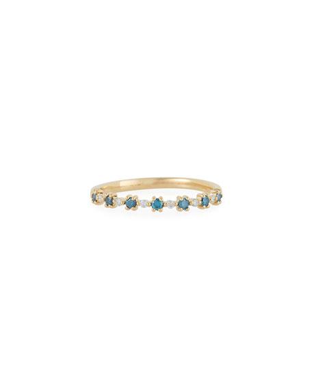 Stevie Wren 14k Gold Blue Diamond Flowerette Ring