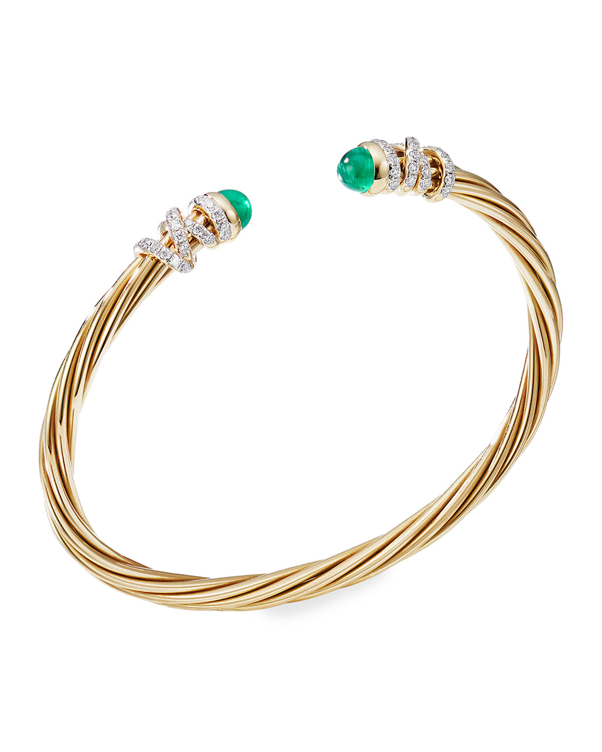 David Yurman Helena 18k Emerald & Diamond Wrapped Bangle, Size L