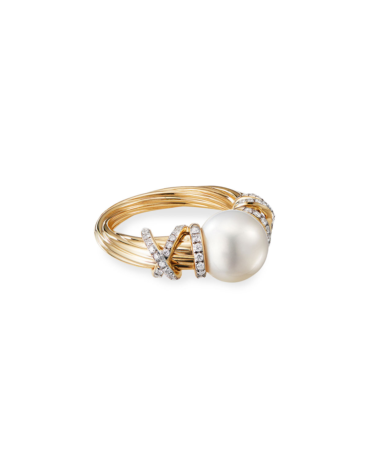 David Yurman Helena 18k Pearl & Diamond Ring, Size 9