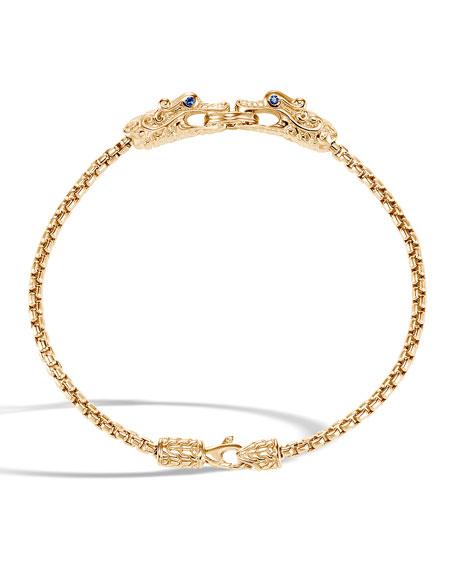 John Hardy Naga 18k Gold Station Bracelet w/ Diamonds, Size M
