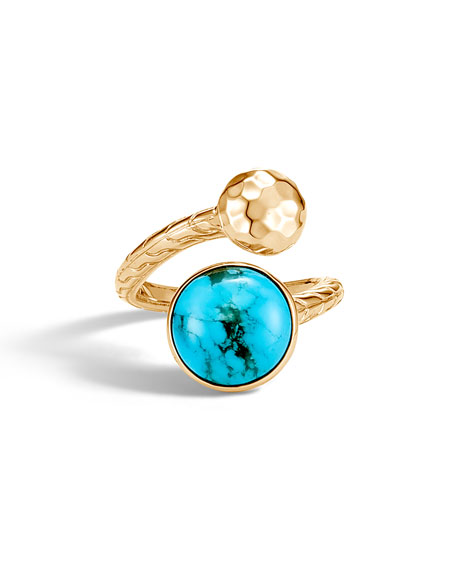John Hardy 18k Hammered Bypass Ring w/ Turquoise, Size 8