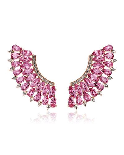 18k Rose Gold Pink Sapphire & Diamond Earrings