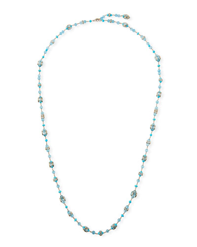 18k White Gold Blue Topaz & Turquoise Necklace