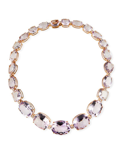 18k Pink Gold Graduated Amethyst Necklace