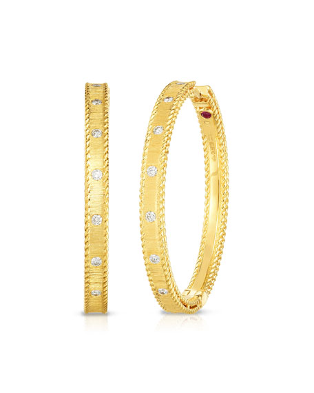 Roberto Coin Princess 18k Yellow Gold Diamond Hoop Earrings, 30mm