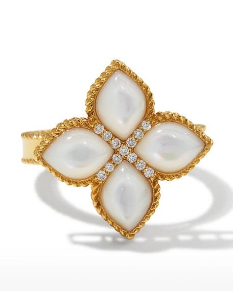 Roberto Coin Venetian Princess 18k Mother-of-Pearl Ring w/ Diamonds, Size 6.5