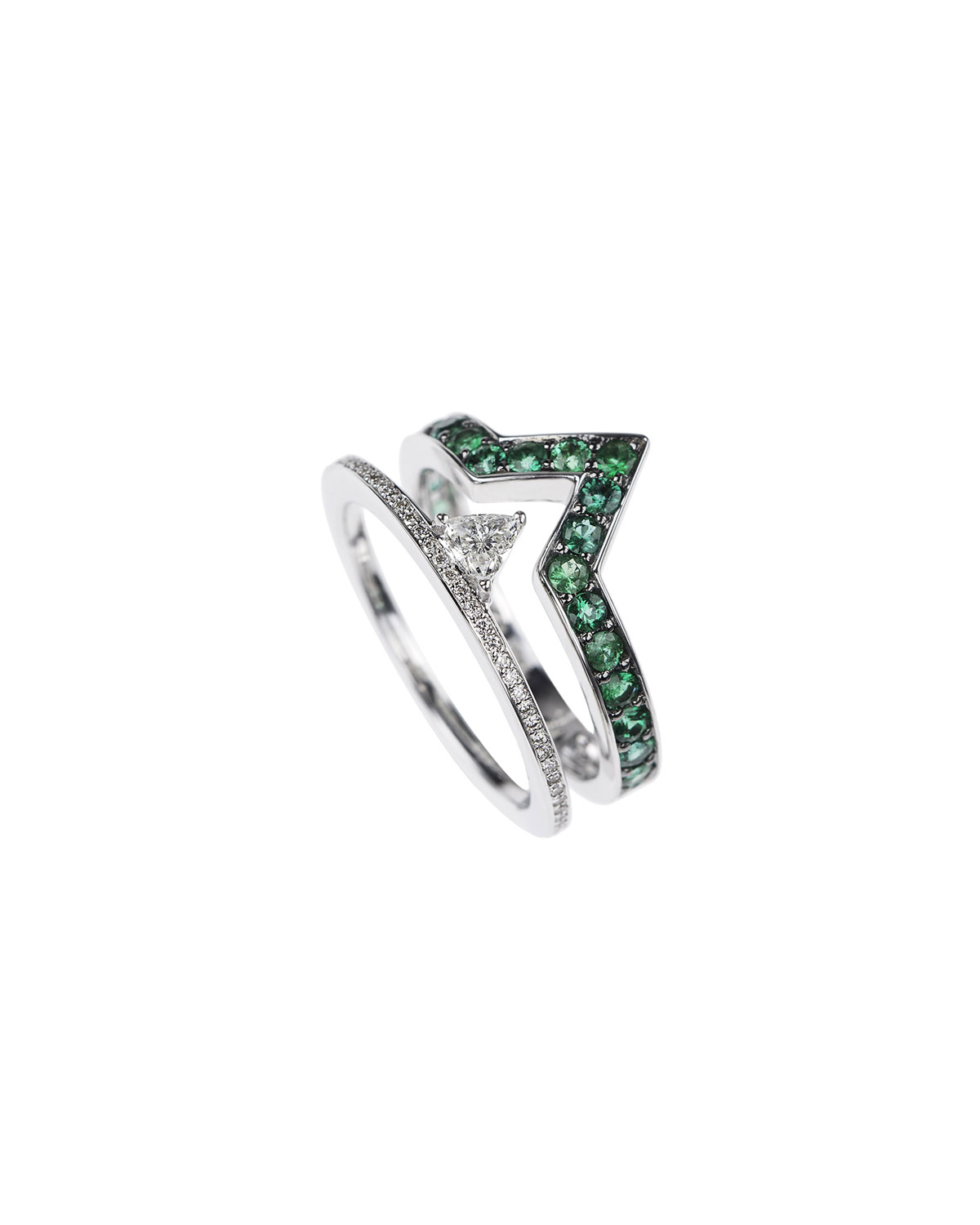 Nikos Koulis V 18k White Gold Diamond & Emerald Ring