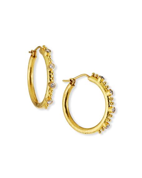Elizabeth Locke Giant Diamond 19k Gold Hoop Earrings