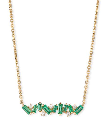 Suzanne Kalan 18k Diamond & Baguette Bar Necklace w/ Emeralds