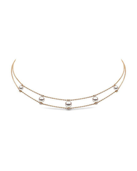 Image 1 of 2: Yoko London 18k Pearl & Diamond 2-Row Necklace