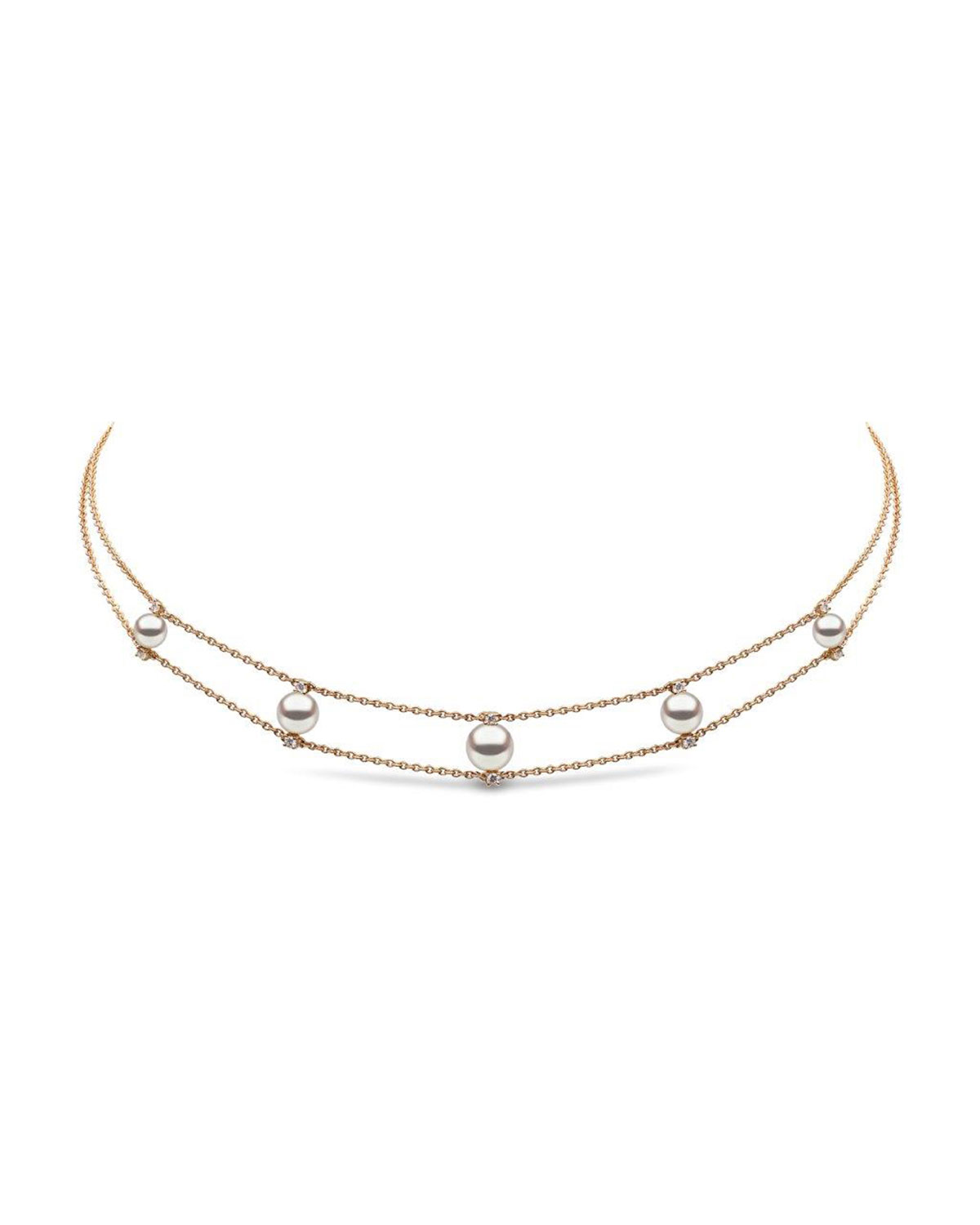 Yoko London 18k Pearl & Diamond 2-Row Necklace