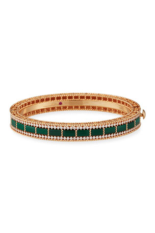 Roberto Coin Art Deco 18k Rose Gold Malachite & Diamond Bangle