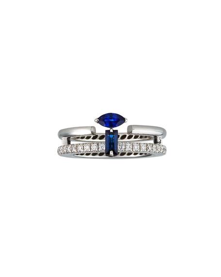 Miseno Procida 18k White Gold Diamond Pave & Sapphire Marquise Ring, Size 6.5