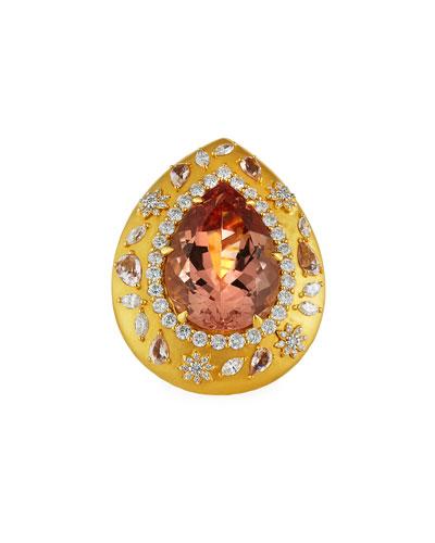 20k Morganite Pear Ring w/ Diamonds