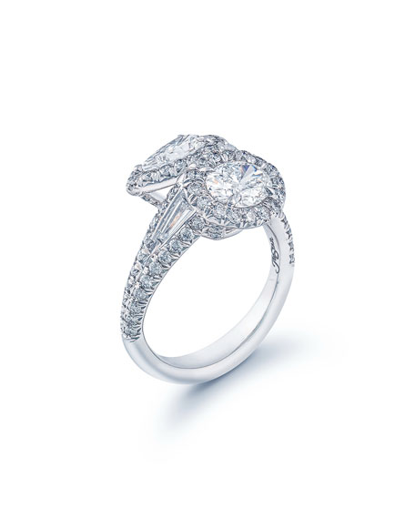 Image 3 of 3: JB Star Platinum Diamond Pear & Oval Bypass Ring