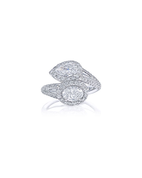 Image 1 of 3: JB Star Platinum Diamond Pear & Oval Bypass Ring