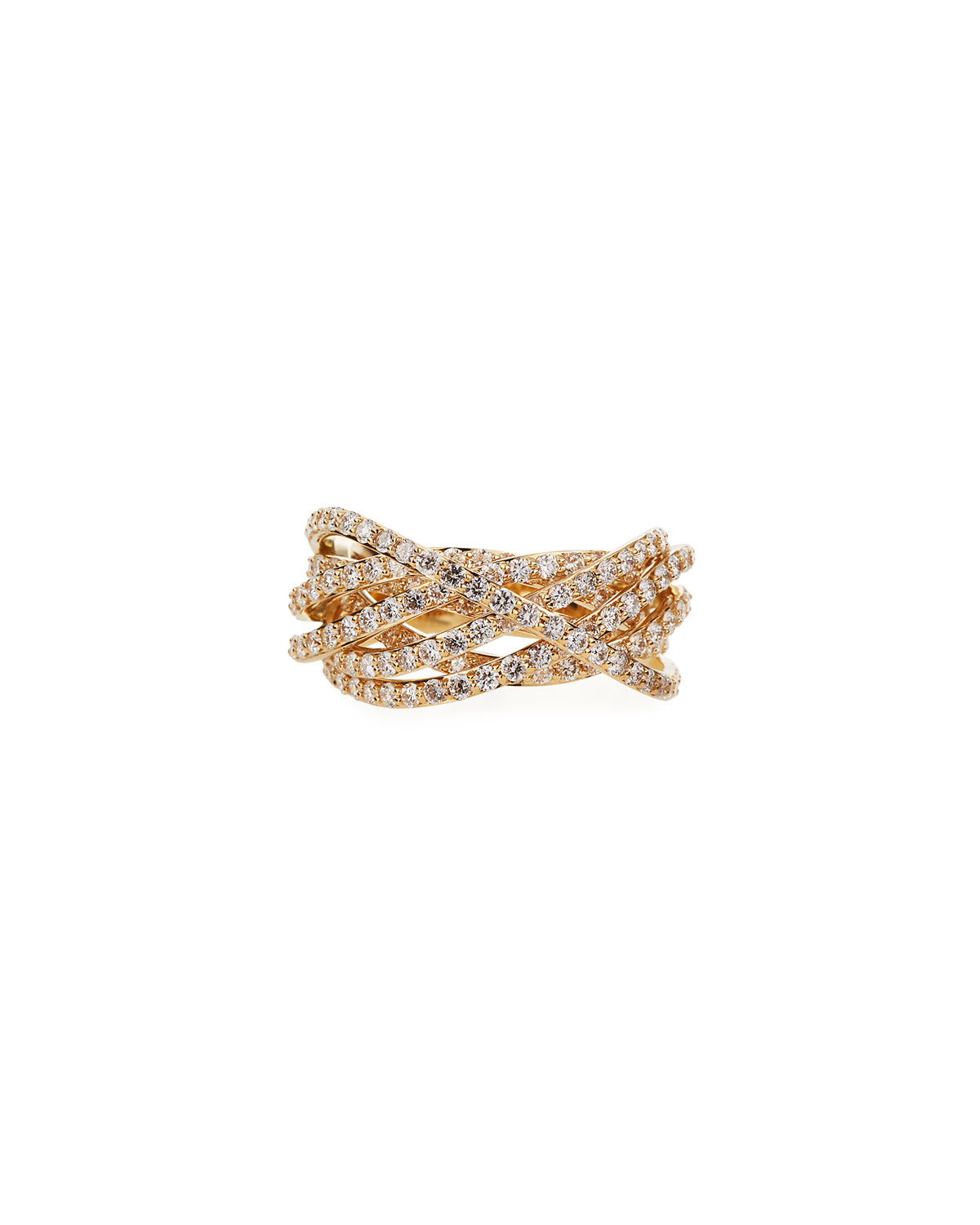 Lana 14k Flawless Diamond Crossover Ring, Size 7
