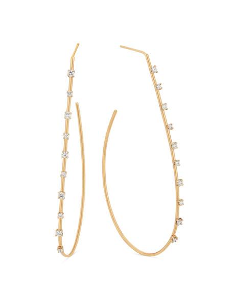 LANA Large Solo Teardrop Diamond Hoop Earrings