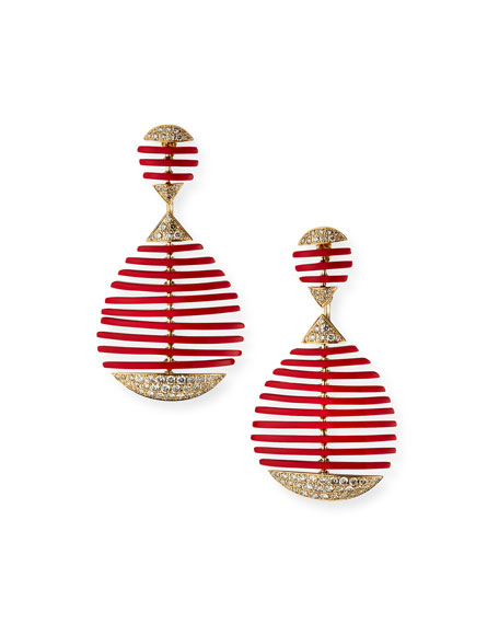 Etho Maria 18k Diamond Red Ceramic Pear Drop Earrings