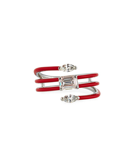 Image 1 of 3: Etho Maria 18k White Gold Red Ceramic Diamond Coiled Ring, Size 6.5
