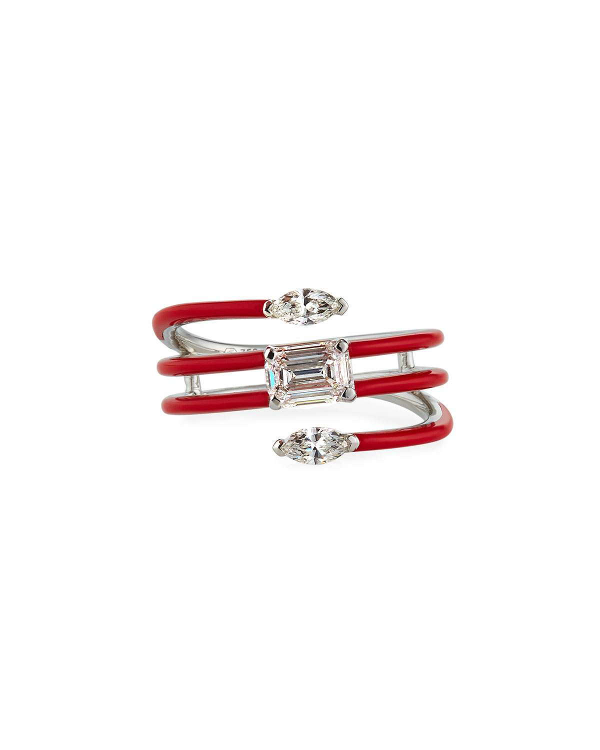 Etho Maria 18k White Gold Red Ceramic Diamond Coiled Ring, Size 6.5