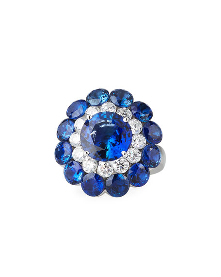 Image 1 of 5: Chopard 18k White Gold Sapphire Magical Setting Ring w/ Diamonds, Size 52