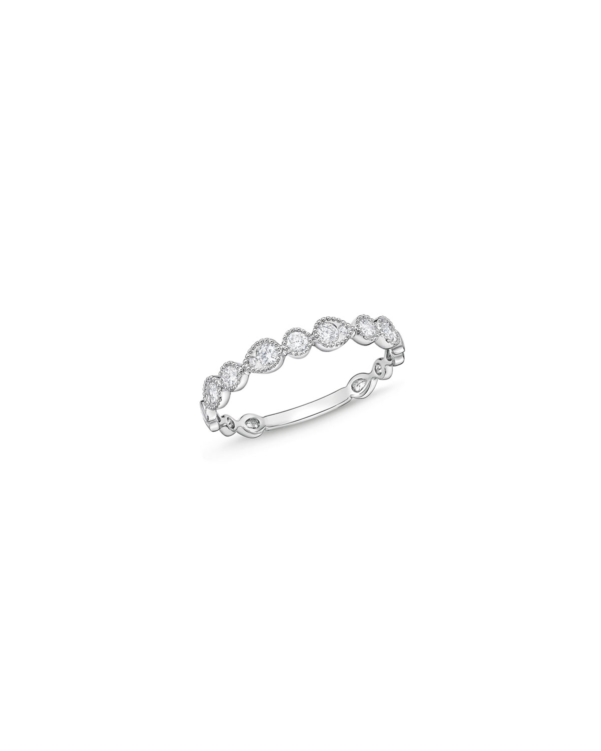 Memoire Stackables 18k White Gold Half-Round Diamond Ring, Size 6.5