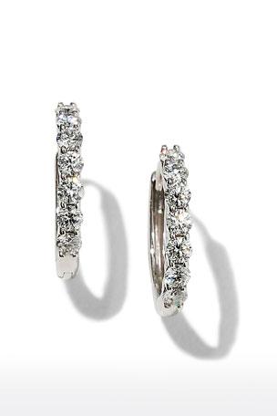 Memoire 18k White Gold Tiny Diamond Huggie Hoop Earrings