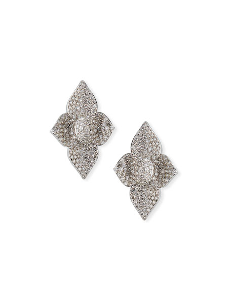 SUTRA 18K White Gold Diamond Pave Lotus Stud Earrings