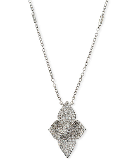 SUTRA 18K White Gold Diamond Pave Double Lotus Necklace