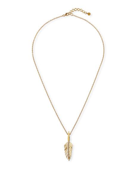 SUTRA 18K Yellow Gold Diamond Feather Pendant