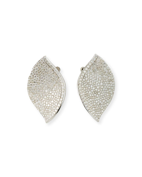 SUTRA 18K White Gold Diamond Lotus Leaf Stud Earrings