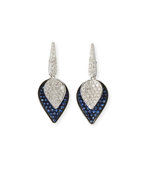 SUTRA 18K White Gold Lotus Small Leaf Drop Earrings w/ Sapphires & Diamonds