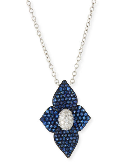 SUTRA 18K White Gold Double Lotus Blue Sapphire Necklace