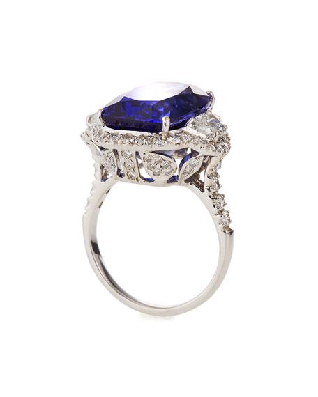 Emsaru 18k White Gold Tanzanite Diamond-Trim Ring