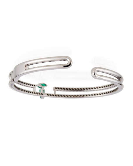 Miseno 18k White Gold Emerald/White Diamond Bracelet