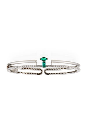 Miseno 18k White Gold Emerald/White Diamond Bracelet