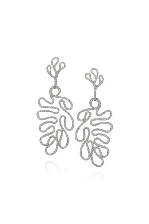 Miseno 18k White Gold Diamond Convertible Sea Leaf Earrings