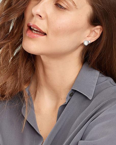Tamara Comolli Bouton 18k White Gold Sand Moonstone/Diamond Post Earrings