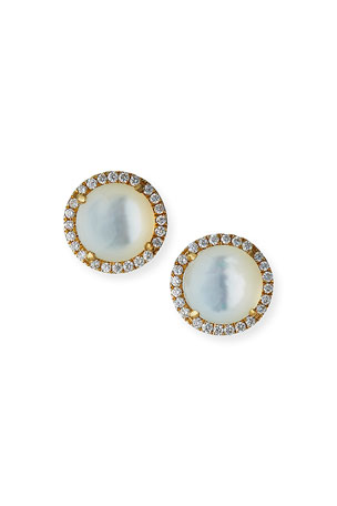Frederic Sage 18k Yellow Gold Mother-of-Pearl Diamond-Halo Earrings