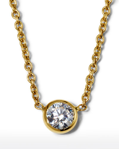 18k Yellow Gold Diamond-Bezel Necklace