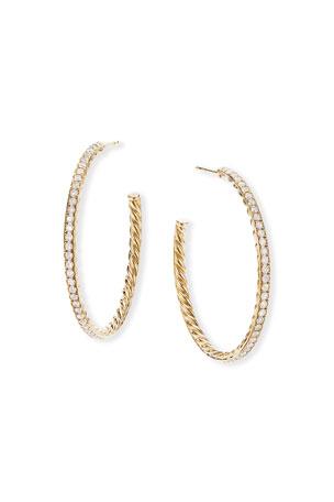David Yurman Medium Diamond Pave Hoop Earrings in 18k Yellow Gold