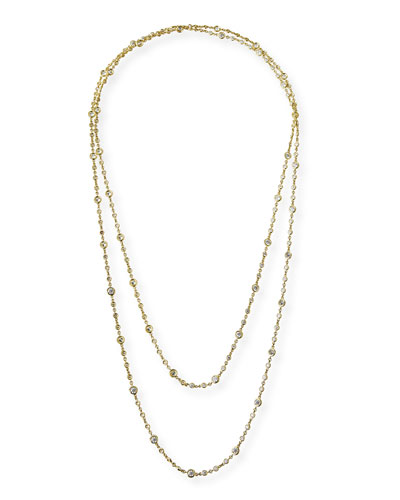 18k Yellow Gold Long Diamond-Station Necklace  60L
