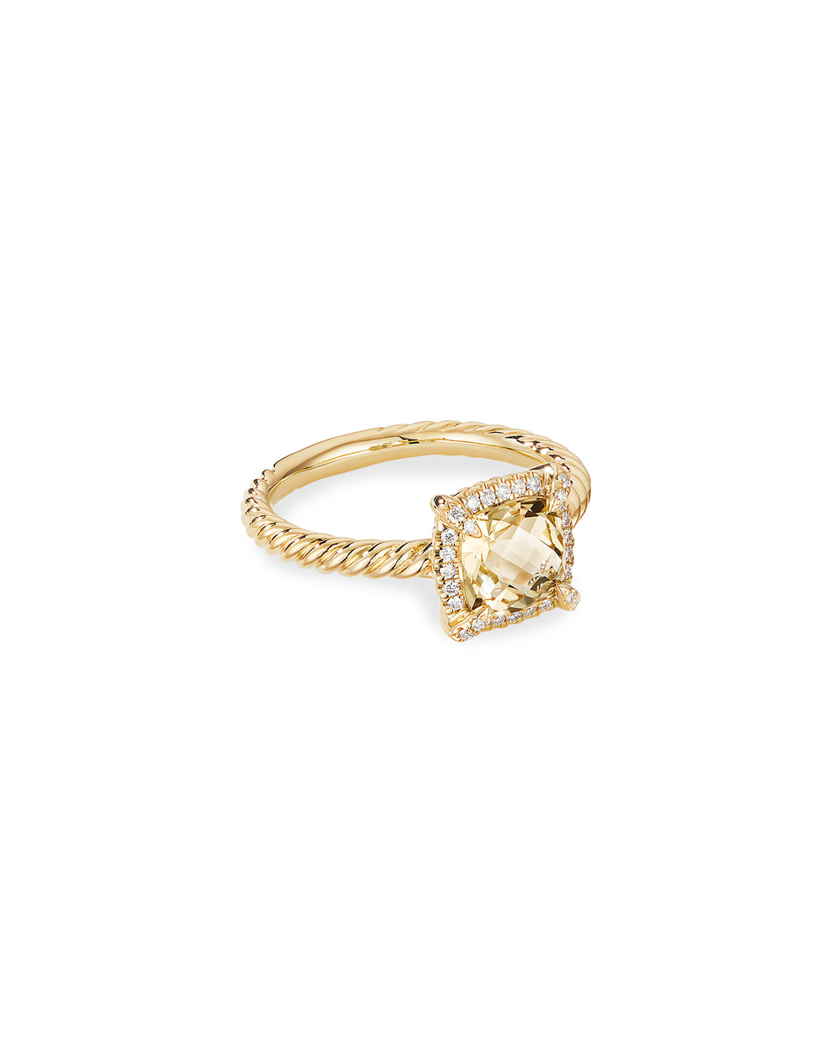 David Yurman Petite Chatelaine Pave Bezel Ring in 18K Gold with Champagne Citrine, Size 6