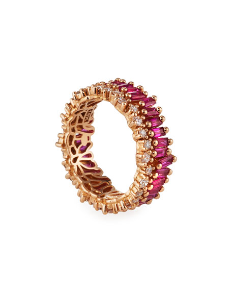 Image 4 of 4: Suzanne Kalan 18k Rose Gold Ruby Eternity Ring